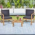3 PCS Solid Wood Patio Table Chairs Set