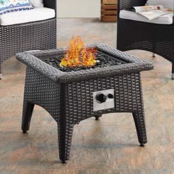 Convene Collection EEI-3729-EXP-WHI-SET 3 Piece Set Outdoor Patio with Fire Pit