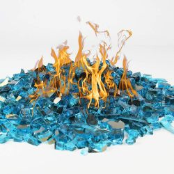"Fire Pit Glass Tempered Fire Glass 1/2"" Reflective Aqua Blue, 10 lbs"