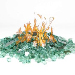"Fire Pit Glass Tempered Fire Glass 1/2"" Reflective Light Green, 10 lbs"