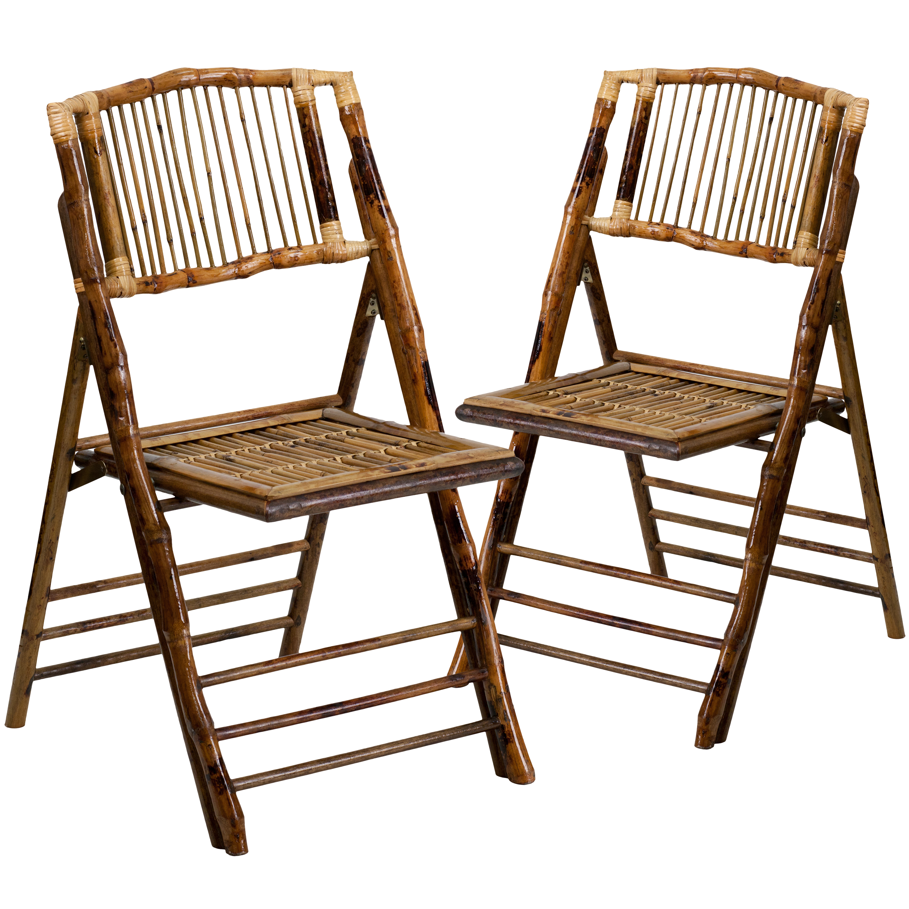 Bamboo Folding Chairs |Set of 2 Bamboo Wood Folding Chairs