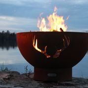 Antlers Round Wood Burning Fire Pit a Creation By Fire Pit Art
